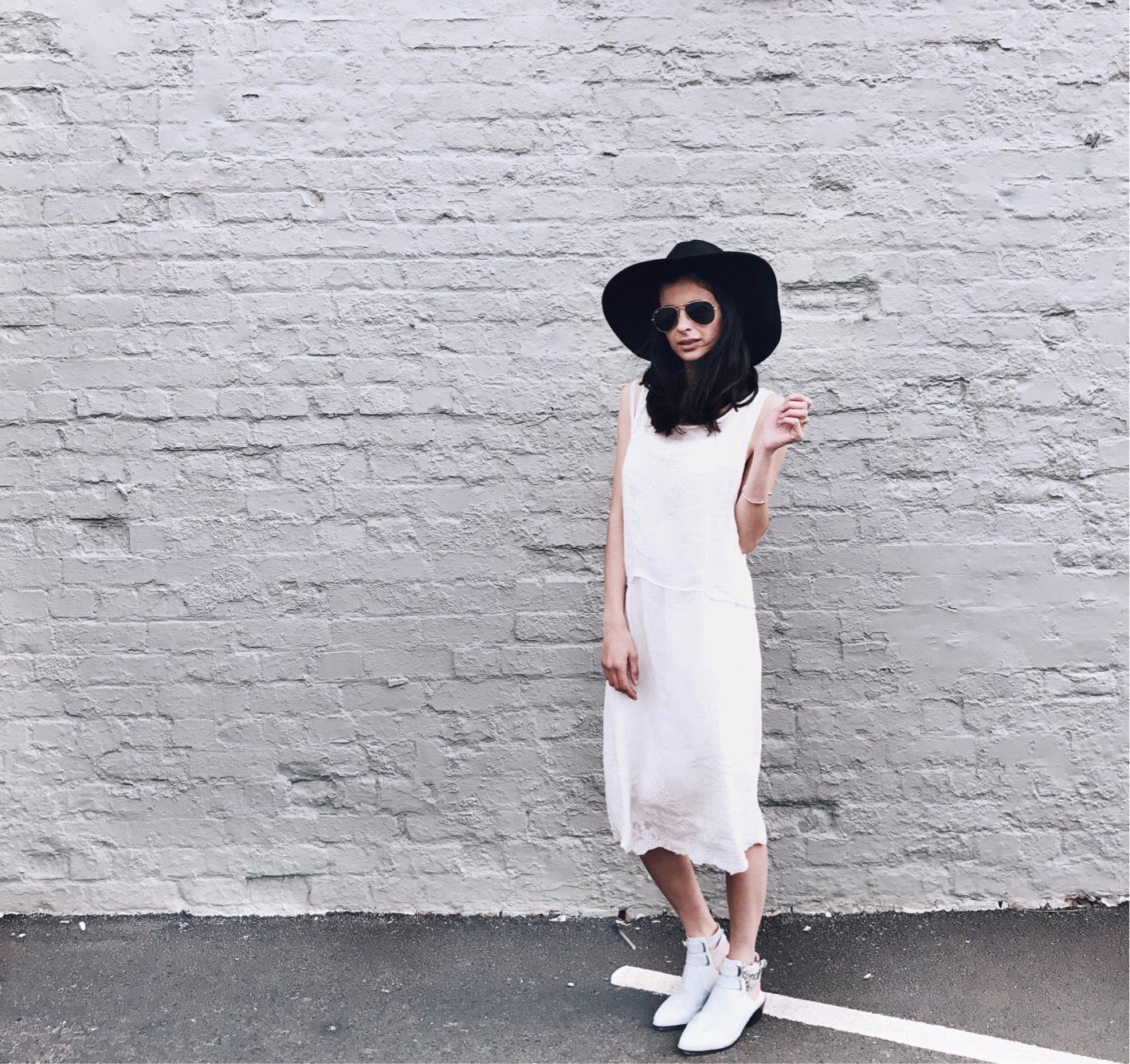 White Midi Dress and Senso Lucas Boots